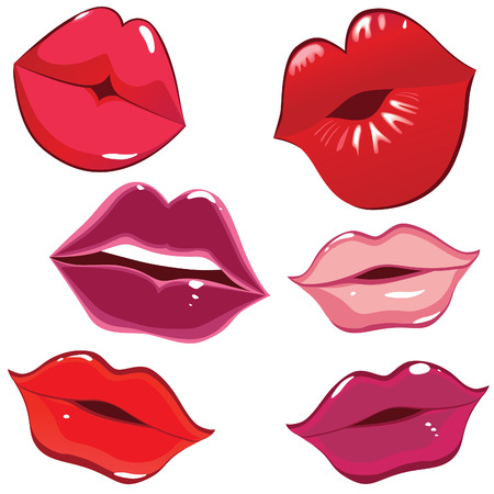 Set of glossy lips in tender kiss. Vector