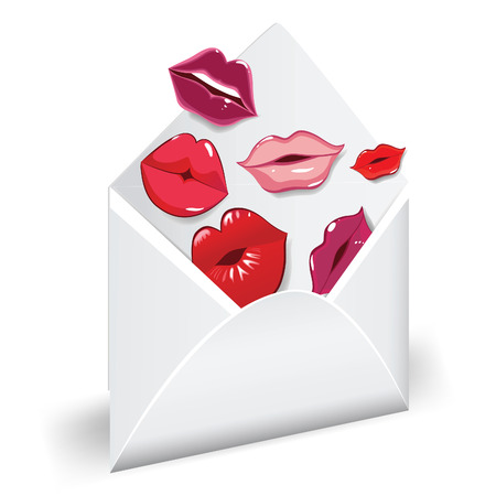 kiss lips: Open envelope with glossy kisses. Love mail.  Illustration