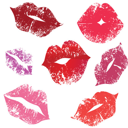 lipstick kiss: Print of lips, kiss,  Illustration