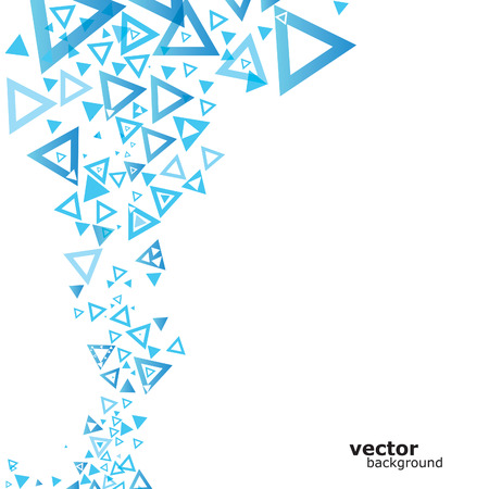 Abstract blue background with triangle. Vector