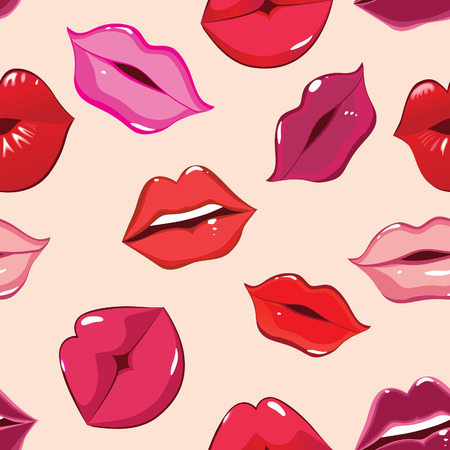 lipstick kiss: Seamless pattern, print of lips illustration