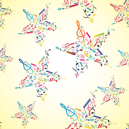 Music seamless background with note inside star. illustration. Vector