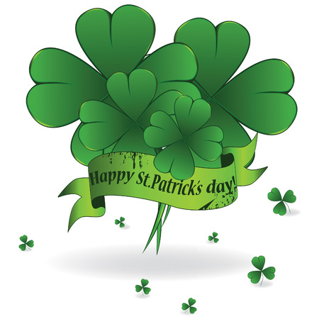 goodluck: Background to St. Patricks Day with clover and ribbon, element for design