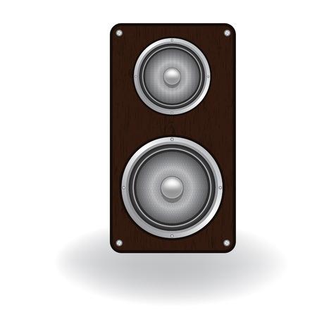 loud speaker: Wooden loud speaker isolated on white , vector illustration. Element for design. Illustration