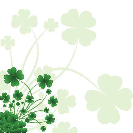 leafed: Floral ornate background to St. Patricks Day with clover. Vector iilustration.
