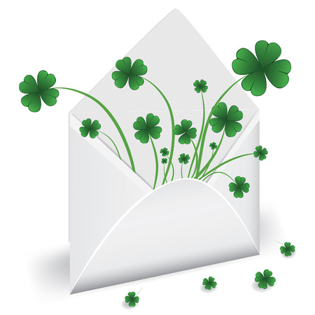 goodluck: Open envelope with clover to St. Patricks Day. Vector illustration. Element for design.