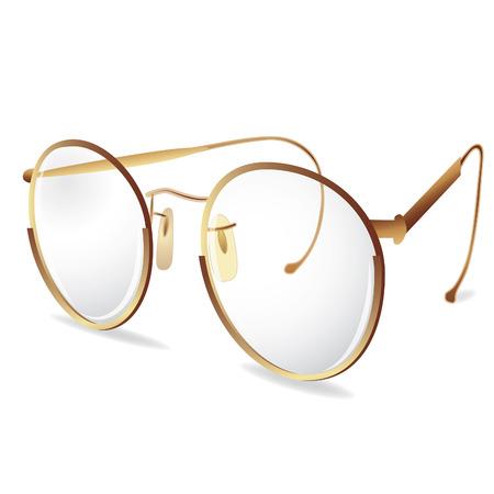 Gold eye Glasses. Vector illustration. Element for design.
