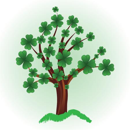 mars: Arbre de l'Art pour la Saint-Patrick avec tr�fle � quatre feuilles. �l�ment pour la conception. Vector illustration. Illustration