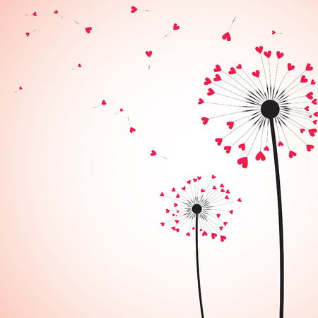 overblown: Silhouette of dandelion couple  in the wind. Vector illustration.