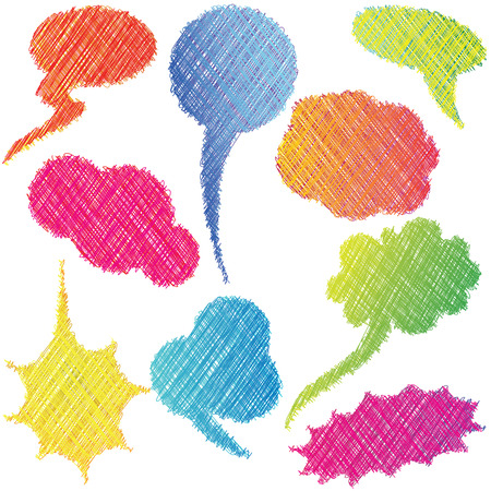 Colorful hand drawn speech and thought bubble. Vector illustration. Vector