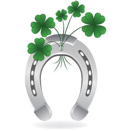 Hoefijzer en vier leaf clover gelukkige symbool. Vectorillustratie. Vector Illustratie