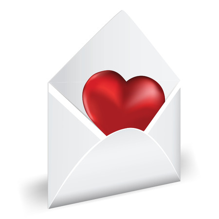 amour: Open envelope with red heart. Love mail. Vector illustration.