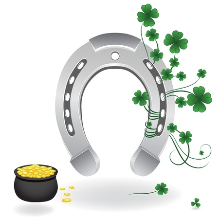 good luck symbol: Horseshoe and four leaf clover lucky symbol. Vector illustration.