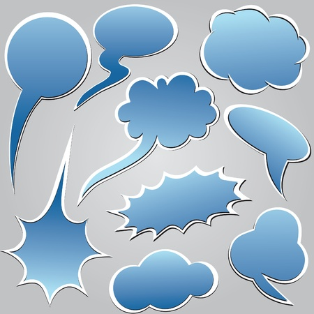 inked: Blue speech and thought bubble  Dialog cloud. Vector illustration. Elements for design.