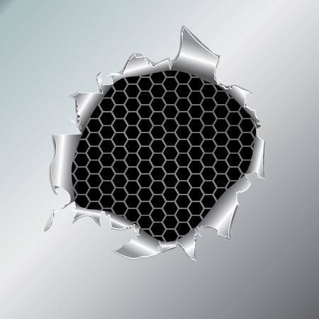 tårar: Hexagon metallic background, hole in the metal paper. Vector illustration