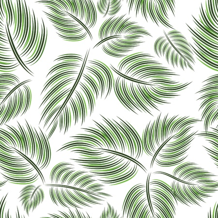 Seamless pattern with green leaf leaves on white background Stock Vector - 8919571