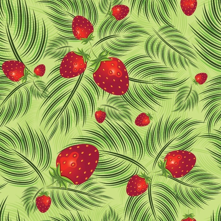 Excellent seamless pattern with strawberry and leaves leaf on green background Vector