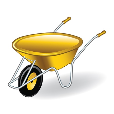 gardening equipment: Yellow wheelbarrow  barrow. Vector illustration.