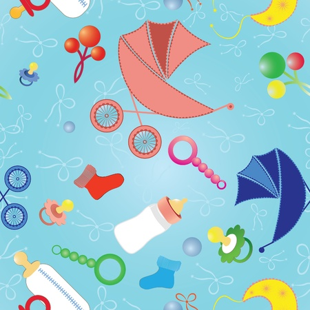 Seamless background with babys objects. Vector illustration. Vector
