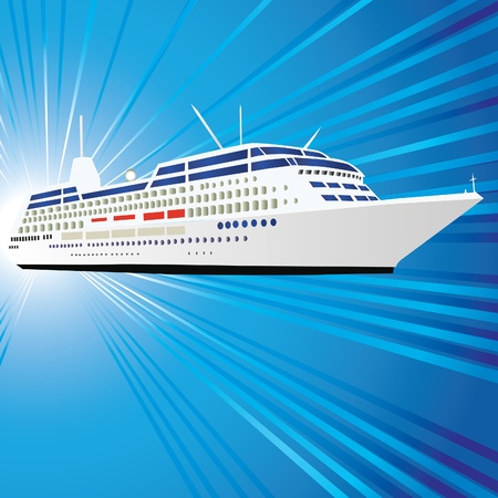 liner: Ocean liner, ship, motor vessel. Vector illustration. Eps10.
