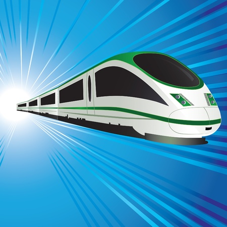 electric train: High-speed train on abstract tunnel background. Vector illustration. Eps10.