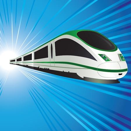 locomotora: Tren de alta velocidad en el fondo del túnel abstracta. Ilustración vectorial. Eps10.