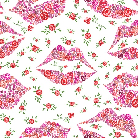 lips smile: Love background with seamless pattern of rose shape in lips and smile, vector illustration. Illustration