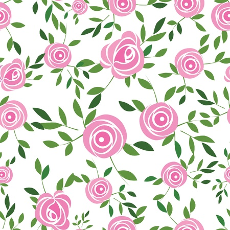 Seamless flower background with rose and leaves, element for design, vector illustration.