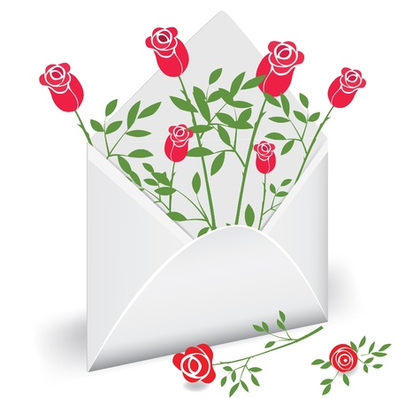 Open envelope with flower rose. Love mail Vector