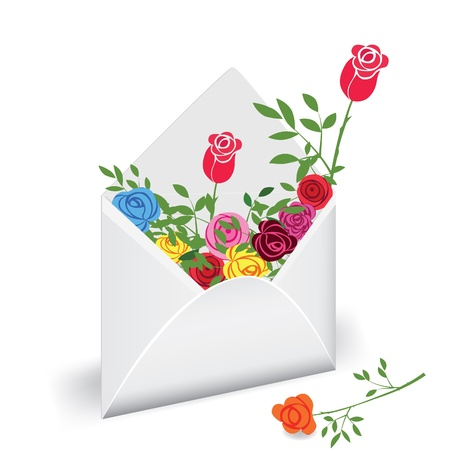 Open envelope with colorful flower rose. Love mail
