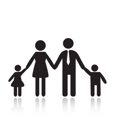grownup: Silhouettes of woman, man, children, family