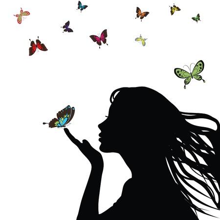 donna farfalla: Ragazza di silhouette donna con farfalla colorata su sfondo bianco. Vettoriali