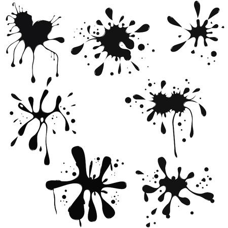black ink blot. Glossy splash, droplet. Stock Vector - 9076322