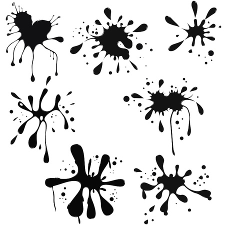 isolated spot: black ink blot. Glossy splash, droplet.