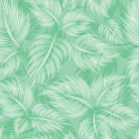 Seamless spring pattern with green light leaf leaves on green background Vector