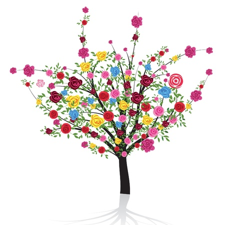 Abstract colorful tree with flower rose Vector