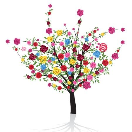 Árbol colorido abstracto con flor rosa