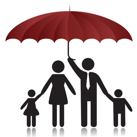 guarda sol: Silhouettes of woman, man, children, family under umbrella cover Ilustra��o