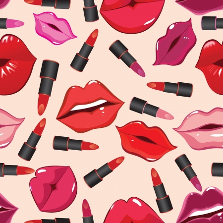 Seamless pattern, print of lips, lipstick