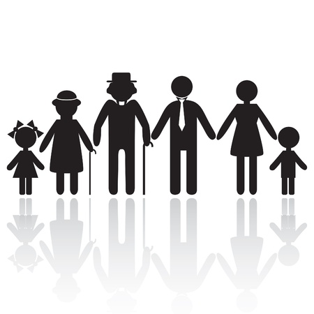 child safety: Silhouettes of woman man kid grandfather grandmother family,  Element for design icon