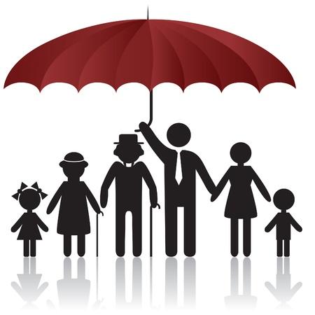 Couvrant les silhouettes de famille femme homme kid grand-père grand-mère sous égide. Élément pour une icône du design