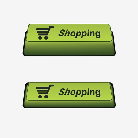 Shopping button and pressed button. Button on/off. Element for design Stock Vector - 9099859