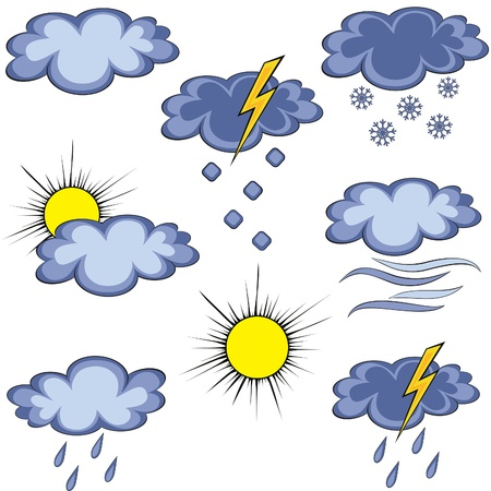 Set of graffiti weather icon. Graffito icon. Element for design. Stock Vector - 9159047