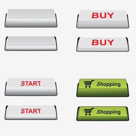 prensado: Set of clear, shopping, start and buy button and pressed button. Button onoff.  Element for design