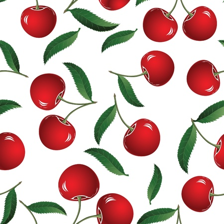 Seamless red cherry background.  Element for design. Illustration