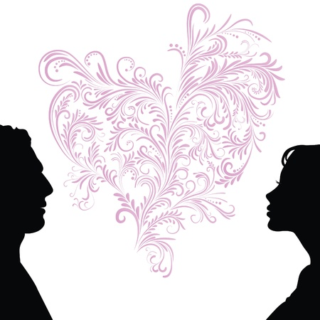 Man and woman face silhouette with heart. Vector
