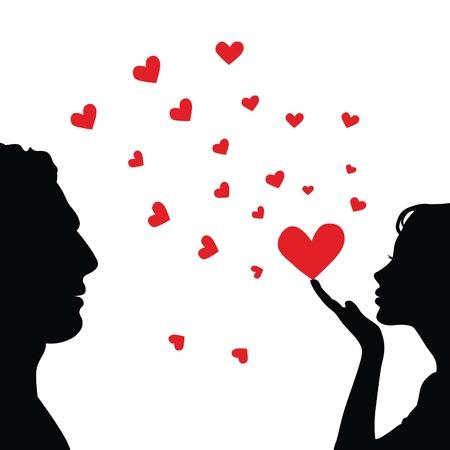 siluetas de enamorados: Silueta de rostro de hombre y mujer con coraz�n. Vectores