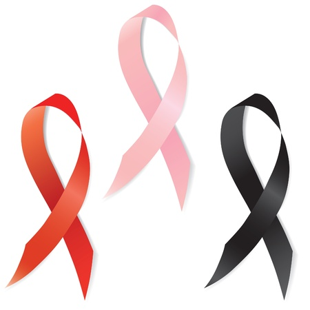 Set of aids and breast cancer ribbon, different sign or symbol, emblem.