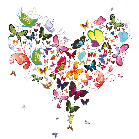 feb: Butterfly heart, valentine vector illustration. Element for design