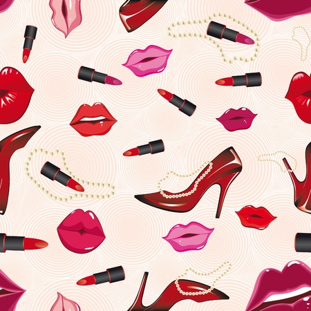 Seamless lips background, with shoe, lipstick. Vector illustration Vector